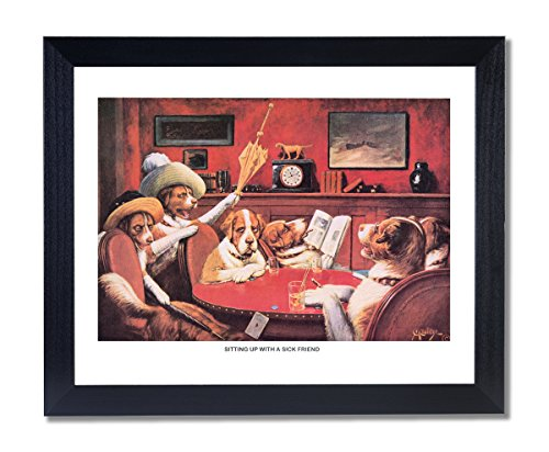Solid Wood Black Framed Coolidge Dogs Playing Poker At Table Sitting Up With A Sicak Friend #2 Animal Pictures Art Print by Art Prints Inc