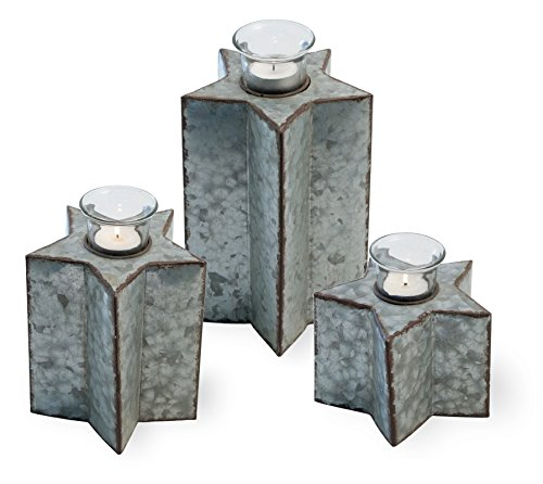 Americana Candle Holder - Celebrate the Home Rustic Metal Star Americana Tealight Candle Holders, Set of 3,