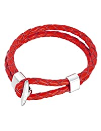 HOUSWEETY Mens Womens 2 Strands Braided Rope Surf Man Made Leather Lariat Bracelet