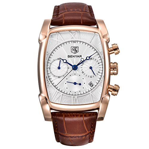 (XINMO Mens Watches Brown Leather Strap Rectangle Quartz Chronograph Business Sport Wrist Watches for Men)