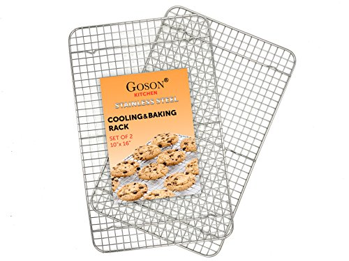 Various Wire (Goson Heavy Duty Stainless Stain Bakeware, Baking, Cooling, Oven Roasting, Broiler Rack, 10in x 16in, Cross Wire Pack of 2, Compatible with Various Baking Sheets Oven Pans)