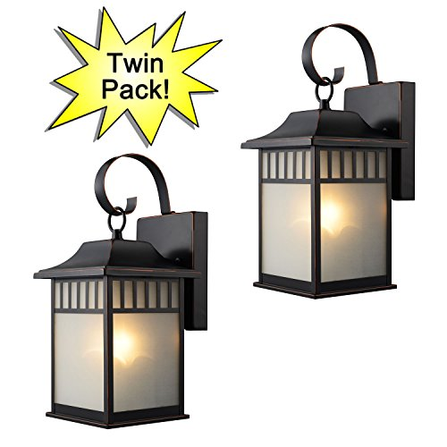 Hardware House 21-2502 Oil Rubbed Bronze Outdoor Patio / Porch Wall Mount Exterior Lighting Lantern Fixtures with Frosted Glass - Twin Pack