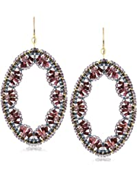 Amethyst Quartz Embroidered Oval Drop Earrings