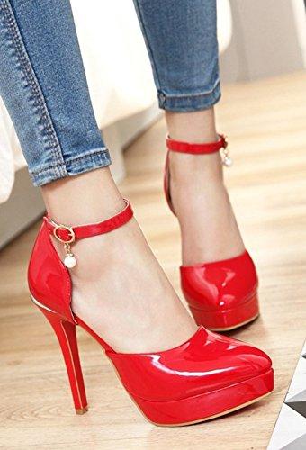 Aisun Vrouwen Chic Gepolijst Gespierde Puntschoen Dorsay Stiletto Hoge Hakken Platform Pumps Schoenen Met Enkelbandje Rood