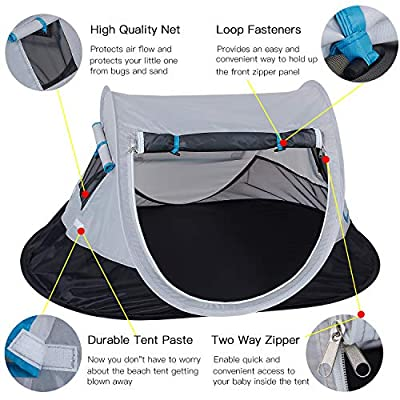 SHDIBA Portable Travel Pop up Baby Tent, Large Beach Sun Shelter Infant Tent, UPF 50+, Baby Sleep Outdoor Camping Mosquito Tent