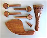 Carved Rosewood Violin Fittings Pegs/Tailpiece/Chinrest/Endpin/Creamy Tip & Ring