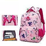 UrChoiceLtd School Bag Backpack for Girls Boy Kids Backpack Waterproof Primary School Students 1-3-6 Grade Children 's School Kindergarten Shoulder Bag 6-12 Years Old (Rose Red / Small)