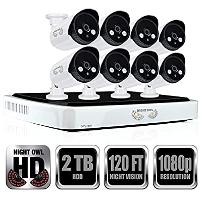 Night Owl Security Full 1080p Network Video Recorder with 2TB HDD and 8 Night Vision 1080p HD IP Cameras