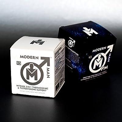 Modern Man PM Fat Burner - Sleep Aid, Weight Loss & Testosterone Booster for Men, Best Night Time Metabolism Booster & Caffeine Free Sleep Supplement | Burn Belly Fat & Build Lean Muscle, 60 Pills