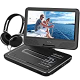 WONNIE 10.5 Inch Portable DVD Player With USB / SD Slot, Built In Rechargeable Battery (Black)