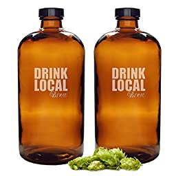 Cathy\'s Concepts Drink Local Bullet Growlers (Set of 2), 16 oz., Amber