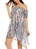 Finejo Women's Summer Boho Cold Shoulder Loose Beach Cover Up Dress