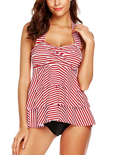 (ADOME Women Halter Swimsuit Set Striped Ruffles Two Piece Tankini with Briefs)