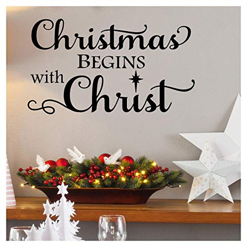 Lettering Decal Wall Sticker (Christmas Begins with Christ Vinyl Lettering Wall Decal Sticker Christ Quote Holiday Decor with Nativity Star (Black, 16.5