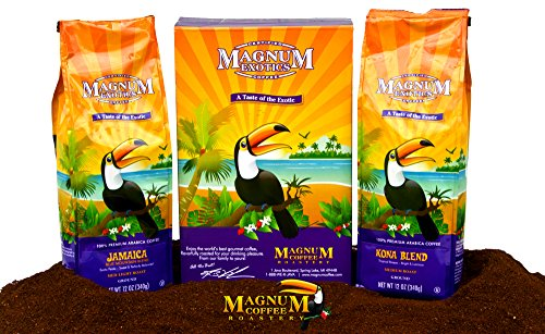 Magnum Coffee Drop of the Exotics Ground Coffee, Jamaican Blend, Kona Blend, 24 Ounces Boxed Bundled Set (Two 12 ounce Bags)