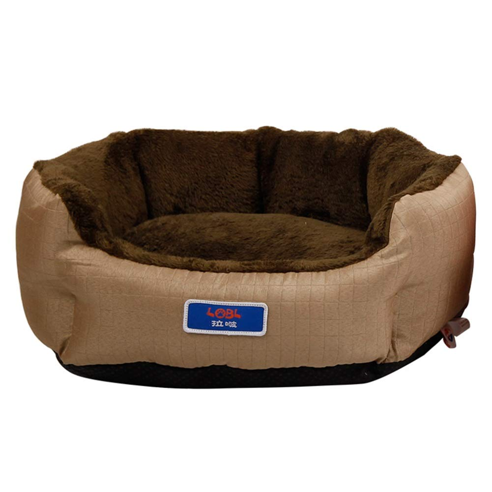 M 51×45×18cm LXLA Round Grooved Pet Bed for Cats & Small Medium Dogs Double-sided Use, Easy to Care Khaki (Size   M 51×45×18cm)