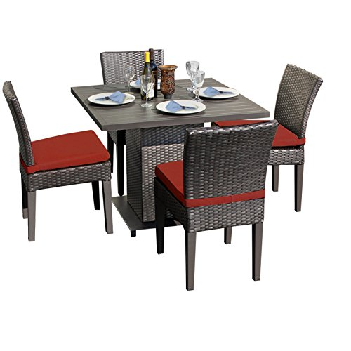 TK Classics Barbados Square Dining Table 4 Chairs Terracotta