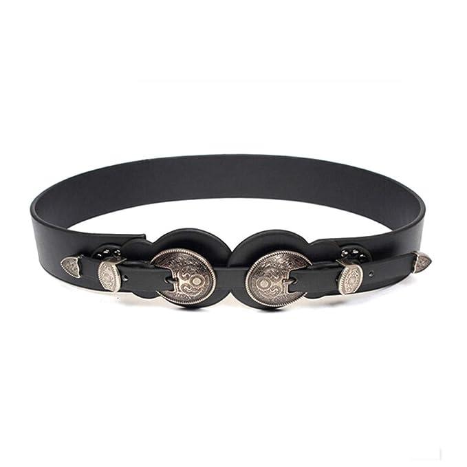 venduto in tutto il mondo soddisfare nuovi prodotti Deretder Cintura donna in pelle vintage doppia fibbia in metallo ...