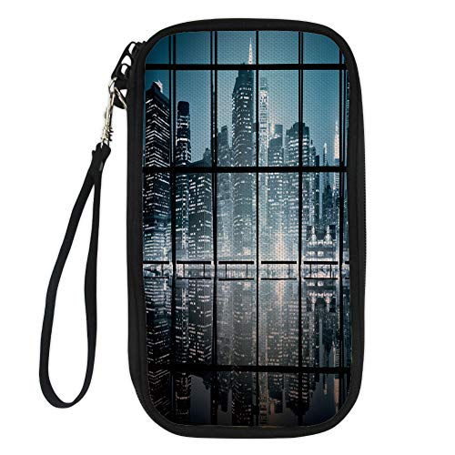 iPrint Modern Decor,Modern New York City Scenery at Night with Skyscrapers Buildings,Black and Dark Blue for Women Canvas Document Organizer Clutch
