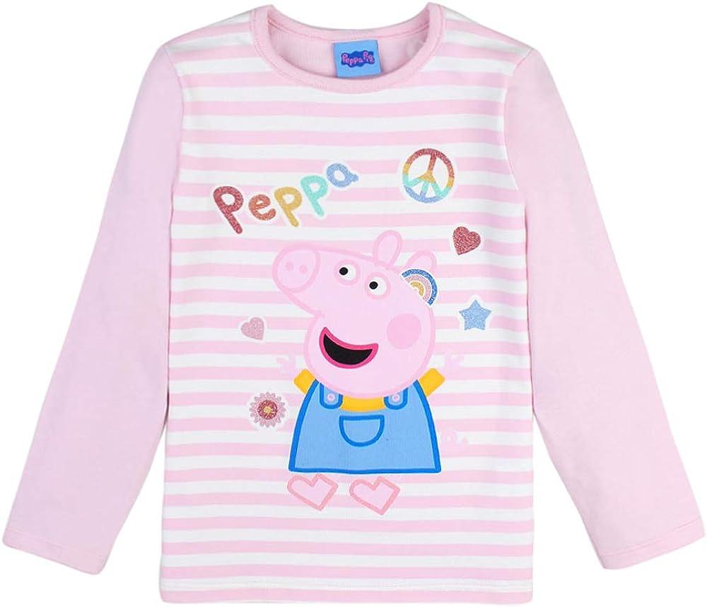 Manica Lunga Rosa Peppa Pig Ragazza T-Shirt stricia