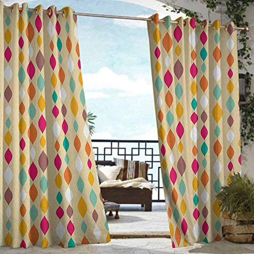 S Brave Sky Beige Outdoor Curtain Waterproof Vertical Oval Tiled Circle Bound Geometric Groovy Shapes Looks Like Flowing Down Pattern Outdoor Curtain for Patio Furniture Multi (Garden Furniture Tiled)