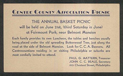 Centre County Association Annual Basket Picnic invitation postcard 1930s