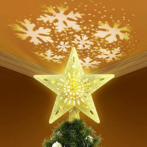 KINGWILL Lighted Christmas Tree Toppers with Snowflake Projector, 2-in-1 Gold Glittered 5 Point 9.8 Inch Star Tree Topper Snowfall LED Lights, Night Light for Christmas Nursery Indoor Decoration