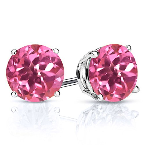 Gem Stone King Sterling Silver Pink Mystic Topaz Stud Earrings 3.10 cttw For Women's Round Cut 7MM