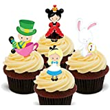 Alice in Wonderland Edible Cupcake Toppers - Stand-up Wafer Cake Decorations by Made4You