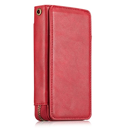 iPhone X Case,Vacio Zipper Card Slots Money Pocket Clutch Cover Wallet Retro Vintage Stand Smart Wallet Credit Billfold Pouch Magnetic Phone Sleeve Case for iPhone X (Red) by Vacio (Image #2)