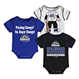 Outerstuff MLB Colorado Rockies Boy's White Onesies Pack (3-Piece)