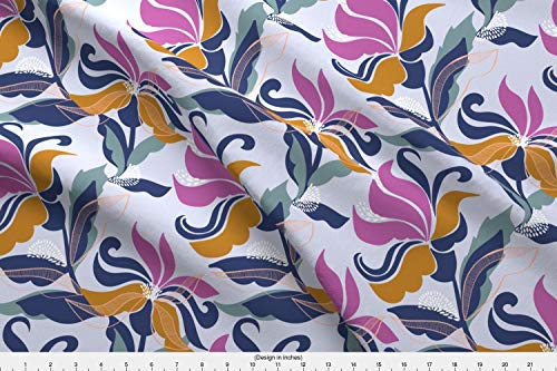 - Spoonflower Flowers Fabric - Floral Leaves Abstract Contemporary Delicate - by Patternanddesign Printed on Silky Faille Fabric by The Yard