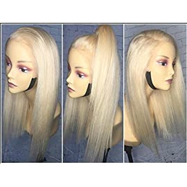 Lace Front Pure Golden Blonde Human Hair Wigs Glueless Virgin Hair Wig Straight Long Hair Style 130% Density with baby Hair by KRN (8inch, full lace wig)