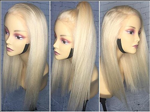 Price comparison product image Lace Front Pure Golden Blonde Human Hair Wigs Glueless Virgin Hair Wig Straight Long Hair Style 130% Density with baby Hair by KRN (10inch,  full lace wig)