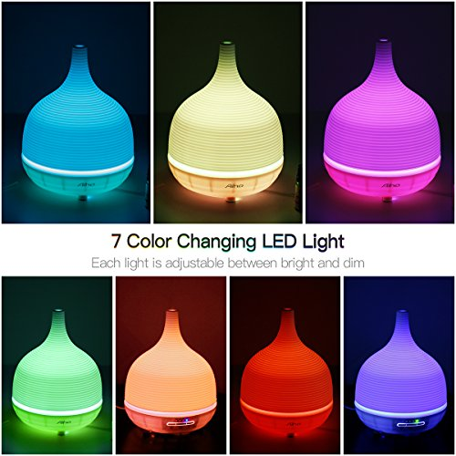 Aromatherapy Essential Oil Diffuser Cool Mist 500ml 4-IN-1 Humidifier Ultrasonic Room Decor with 7 Color Changing Lamps, 4 Timer Settings and Waterless Auto Shut-Off
