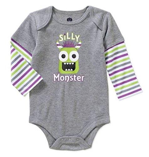 [Assorted Witch, Pumpkin, Cat Baby Boys & Girls Halloween Bodysuit Dress Up Outfit (24 Months, Silly Monster - Green Monster)] (Sixties Dress Up)