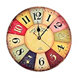 Cuitan 12″ Wall Clock, Retro Battery Operated Silent Non-ticking Quartz Round Dial Vintage Multicolored 12 Inch Large Decorative Wall Clock for Living Room Kitchen Home Office (Multicolored) Review
