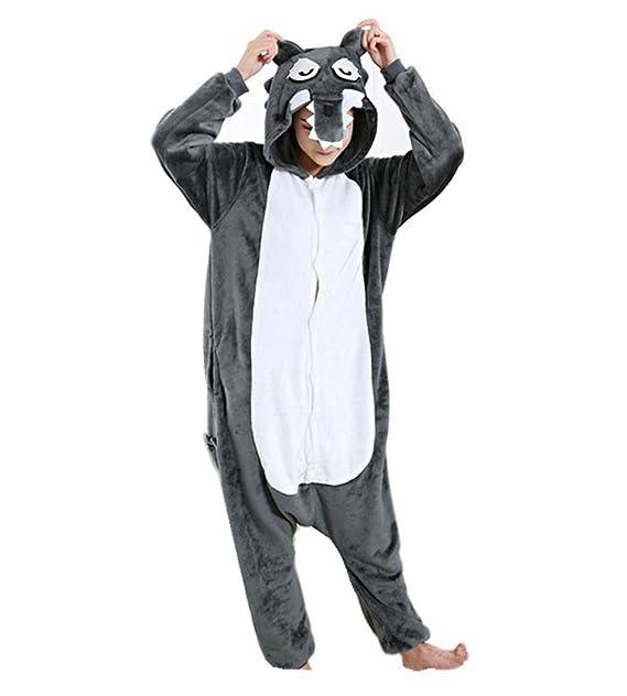 WRH Kigurumi Pajamas WRH Franela gris lobo Mostrar traje una sola pieza pijamas dibujos animados amantes
