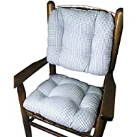 Barnett Child Rocking Chair Cushion Set - Madrid Light Blue Gingham - Latex Foam Fill