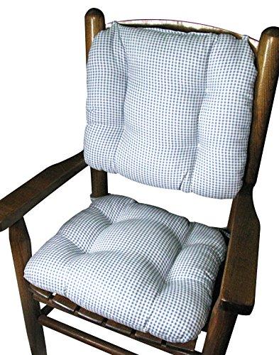 Barnett Child Rocking Chair Cushion Set - Madrid Light Blue Gingham - Latex Foam Fill ()