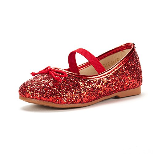 (DREAM PAIRS Toddler Belle_01 RED Girl's Mary Jane Ballerina Flat Shoes Size 6 M US Toddler)
