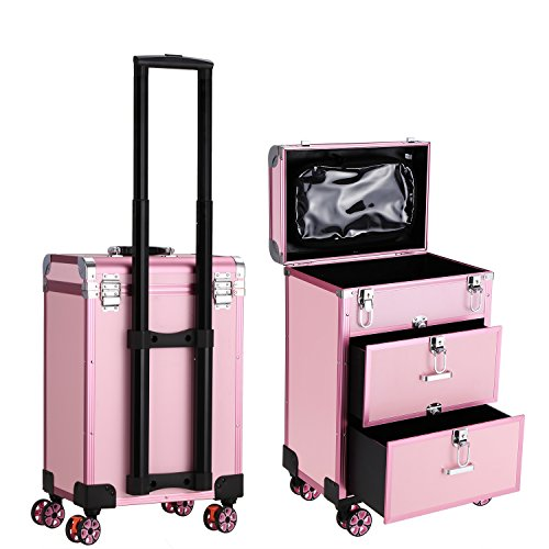 Dorfin Wheeled Cosmetic Train Case 3 in 1 Professional Multifunction Artist Trolley Aluminum Rolling Makeup Train Case Cosmetic Organizer Box with 4 Universal Wheels Pink by Dorfin
