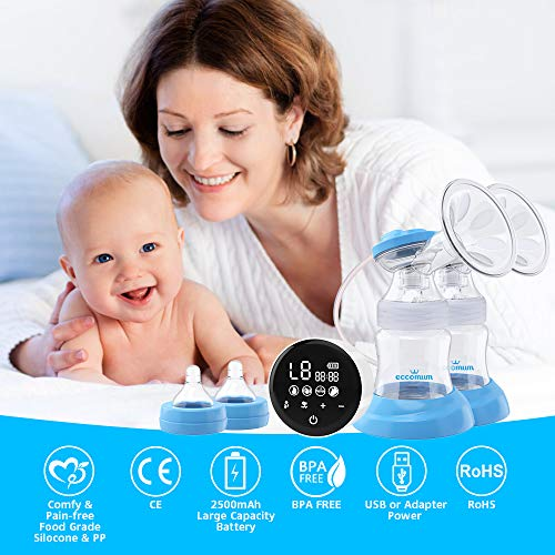 51az%2BTYLdIL - Electric Double Breast Pump Eccomum Breastfeeding Pump With 4 Modes & 9 Levels, Memory Function, BPA Free, Full Touchscreen LED Display, Strong Suction Power, Pain Free, Rechargeable, Ultra-Quiet