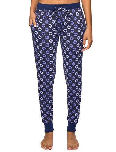 Womens Knit Cuff Pant - Women's Waffle Knit Jogger Lounge Pants - Swirly Daze Blue/Black - Large