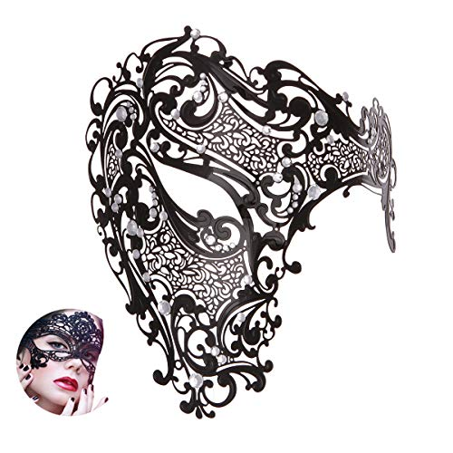 Masquerade Mask Women Shiny Rhinestone Venetian Party Prom Ball Metal Mask (Half Face Big)]()