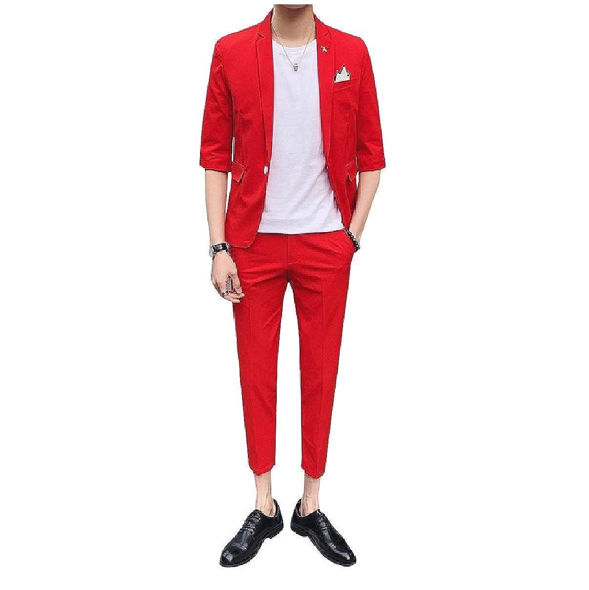 Coolred-Men Short-Sleeve Slimming 2-Piece Suit Jacket /& Pleated Pants Set