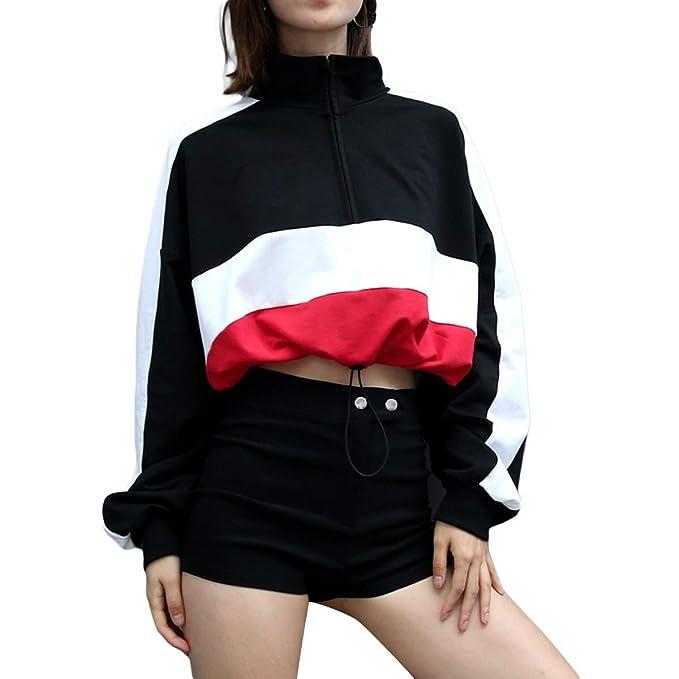 ZFFde Sudaderas Sudadera con cordón y cuello en V para mujer (Color : Black,