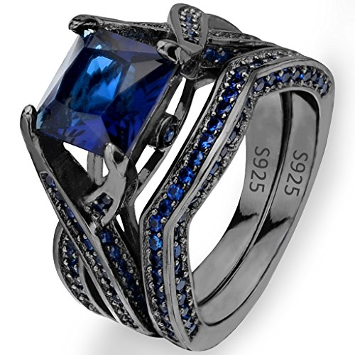 EVER FAITH Black Sterling Silver 925 Princess Cut CZ Solitaire Cocktail Ring Set Sapphire Color - Size 7