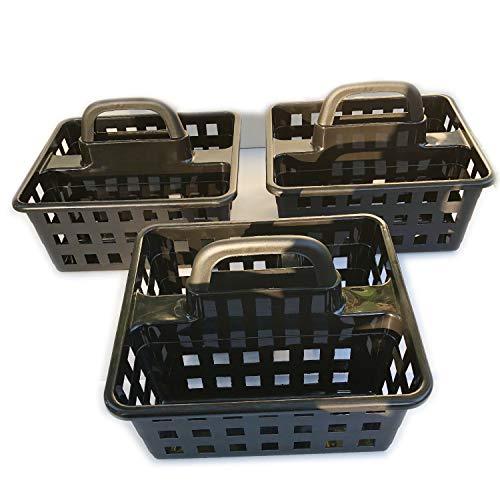 (Plastic Caddies Portable Storage Organizer Caddy Tote Divided Basket Bin with Handle, Body Wash, Shampoo, Bath Conditioner, Lotion Bathroom, Shower, Dorm Room Holds Hand Soap Small Classroom Utility)