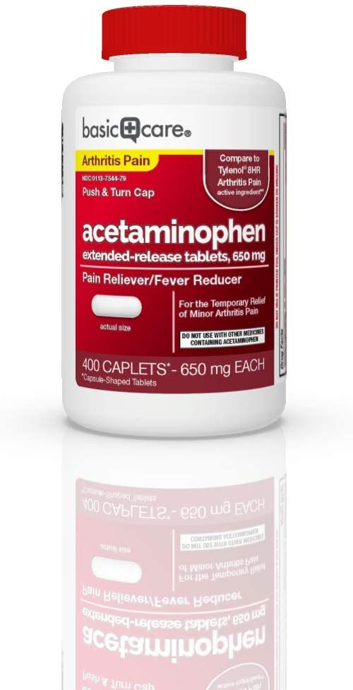 Basic Care Acetaminophen Extended-Release Tablets, 650 mg, Arthritis Pain, 400 Count: Health & Personal Care